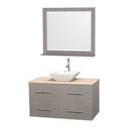 """Wyndham Collection - Centra Bathroom Vanity in Grey Oak,Marble Top,Pyra White Sink,36"""" Mir - Simplicity and elegance combine in the perfect lines of the Centra vanity by the Wyndham Collection. If cutting-edge contemporary design is your style then the Centra vanity is for you - modern, chic and built to last a lifetime. Available with green glass, pure white man-made stone, ivory marble or white carrera marble counters, with stunning vessel or undermount sink(s) and matching mirror(s). Featuring soft close door hinges, drawer glides, and meticulously finished with brushed chrome hardware. The attention to detail on this beautiful vanity is second to none."""