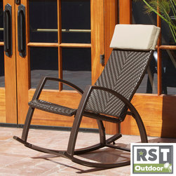 Red Star Traders - RST Barcelona Woven Wicker Outdoor Rocker Chair - Sit down and rock your cares away in this outdoor woven rocker. With quality materials engineered for outdoor use, this rocker is safe to stay outdoors and will last for years.
