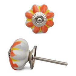 "Knobco - Ceramic Knob, Yellow with Orange Flower - Yellow and Orange flower Ceramic knob perfect for  your  kitchen   and bathroom  cabinets! The   knob is 1.6""    in  diameter and includes  screws  for installation."