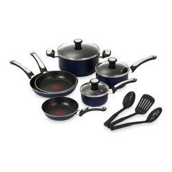T-fal - T-Fal Total Non-stick 12-Piece Cookware Set in Blue - This cookware has both a non-stick exterior and interior. Thermospot technology is ideal for perfect pre-heating.