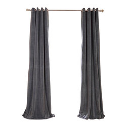 Exclusive Fabrics & Furnishings, LLC - Signature Natural Grey Grommet Blackout Velvet Curtain - 100% Poly Velvet. Grommet. Plush Blackout Lining. Imported. Dry Clean Only.