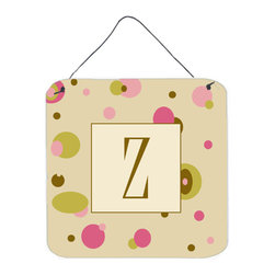 Caroline's Treasures - Letter Z Initial Monogram - Tan Dots Aluminium Metal Wall Or Door Print - Great for inside or outside these Aluminum prints will add a special touch to your kitchen, bath, front door, outdoor patio or any special place.  6 inches by 6 inches and full of color.  This item will take direct sun for a while before it starts to fade.  Rust and Fade resistant.  Aluminum Print with Hanging Rope.  Rounded Corners.
