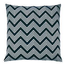 "NECTARmodern - ZigZag (black) chevron embroidered throw pillow 20"" x 20"" - Make some room on your sofa for this lively linen pillow. The chevron design is playful yet chic, a refreshing alternative to stripes and solids."