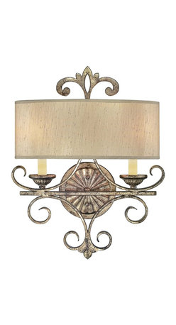 Savoy House - Savonia 2-Light Sconce - This majestic wall sconce features two light fixtures, providing you with illumination from behind an elegant shade. A crown-like emblem on the top further enhances its regal presence.