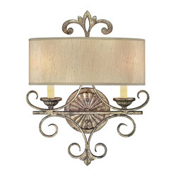 Savoy House - Savonia - This majestic wall sconce features two light fixtures, providing you with illumination from behind an elegant shade. A crown-like emblem on the top further enhances its regal presence.