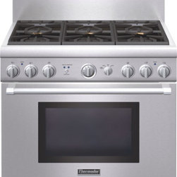 Thermador - 36 inch Professional Series Pro Harmony Standard Depth LP Range PRL366GH - Our new 36-inch Pro Harmony Range gives you six pedestal Star® Burners (2 with ExtraLow® feature), a 5.0 cubic foot oven and liquid propane operation. The Thermador fourth generation, patented Star® Burner delivers superior power and heat distribution while our exclusive burner pedestal with QuickClean Base® allows easy access under the burner for effortless cleaning.