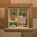 Recessed Bathroom Tile Niches - Easy to clean and easy to install! 3 compartment porcelain shower niche for your tile shower or bath.   $129  Installation in this picture is bullnose overlay of the flange. Slightly more install than just putting it into the opening and siliconing in.