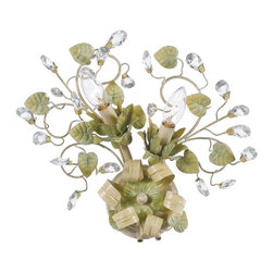Crystorama - Josie Two Light Champagne Green Tea Sconce - Two light sconce with clear crystal accents and wrought iron handpainted in Champagne Green Tea finish. Takes two 60 watt candelabra bulbs.