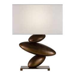 Fine Art Lamps - Recollections Bronze Table Lamp, 829810-2ST - Smooth, glossy bronze or silver oblong shapes stacked at tilted angles give this nontraditional table lamp a feeling of liquid movement. It will create a striking visual contrast with the straight lines and quiet minimalism of traditional contemporary furniture.