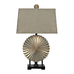 "Crestview - Crestview CVAUP408 Stardust Table Lamp - Stardust Table Lamp Stardust Silver Finished Resin Table Lamp (9/16 x 10/18 x 11"" Champaign Weave Shade)  29.5"" Ht."