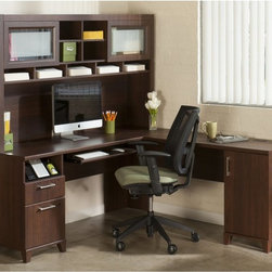 Bush Furniture - Bush Office Connect Achieve L-Shaped Desk with Hutch - Sweet Cherry - BHI1293 - Shop for Desks from Hayneedle.com! Create a home office with the spacious workspace and storage options you need to with the Bush Office Connect Achieve L-Shaped Desk with Hutch - Sweet Cherry. This well-crafted desk and hutch are made of wood solids and veneers and feature a backside that is completely finished. The L shape of the desk means you can create more space in your home office by positioning it in a corner. This set includes a durable expansive work surface with an integrated wire management grommet and four-port USB hub. Meanwhile the handy pull-out tray works for a traditional keyboard or laptop and there's also a charging station supply drawer and lockable file drawer for your letter-sized files. There's even more storage in the right pedestal which has a large storage compartment and adjustable shelf tucked inside.About Bush FurnitureBush Furniture is the eighth largest furniture company in the United States. Bush manufactures high-quality products which are designed to be easily assembled and provide great value for the price. Bush furniture is made from a combination of particleboard fiberboard and solid wood components. The use of real wood components will be noted in the product description if applicable.Bush Industries has over 4 000 000 total square feet of manufacturing warehousing and distribution space. This allows for a very wide selection of high-quality furniture with the ability to ship quickly. All standard residential Bush products carry a generous 6-year warranty. All Bush business furniture including the A series C series and Quantum series is backed by a 10-year warranty from Bush one of the best in the industry.