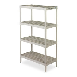 Continental - Continental Ventilated Storage Shelf - 36.3 x 18.1 x 60.3 - 4 x Shelf(ves) - Storage shelving features a ventilated, closed crevice design for a moisture-free, dust-free and pest-free environment on all four shelves. Each shelf holds up to 150 lb. 6 leveling feet allow easy floor cleaning and shelf stability.