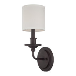 Savoy House - 1-Light Sconce - This stunning sconce has timeless simplicity. The rich English bronze finish is accented by a white drum shade.