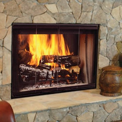 Majestic Designer See-Thru Series 40'' x 53'' Wood Burning Fireplace - These elegant fireplaces offer unique see-through and peninsula viewing styles, for a dramatic look that truly showcases a burning wood fire. Their radiant design and refractory brick lining ensure adequate heat distribution at all times.