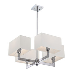 Quoizel - Quoizel REM5004C Remi Chandelier - The Remi Collection gives a nod to mod with its gleaming Chrome finish and angular arms. The square shades echo the geometric shape, which is artistically carried through on the square canopy.
