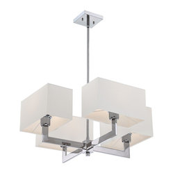 Quoizel - Quoizel QZ-REM5004C Remi Chandelier - The Remi Collection gives a nod to mod with its gleaming Chrome finish and angular arms. The square shades echo the geometric shape, which is artistically carried through on the square canopy.