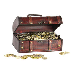 "Quickway Imports - Pirate Treasure Chest with 144 Coins - Approx. Dimension: 11"" x 7"" x 5.5"""