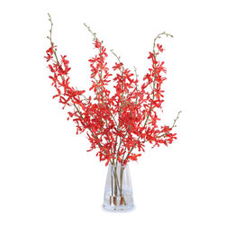 New Growth Designs - Spider Orchid Arrangement, Red - The vivid red flowers of this Spider orchid are hand-arranged in clear acrylic solution in a sturdy glass bucket vase. Ideal for display in your bedroom, dining room, entryway or office.