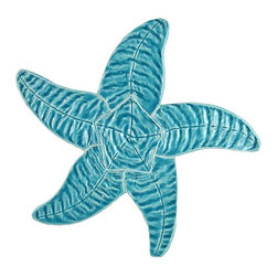 "Glass Tile Oasis - Starfish Aqua Blue Pool Glossy Ceramic - Sheet size:  9""    Tile thickness:  1/4""   Sheet Mount:  Mesh Backed    Sold by the piece   -"