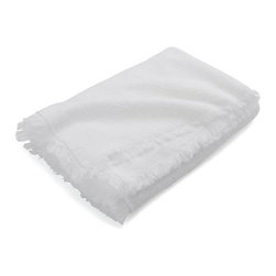 White Fringe Bath Towel - Delicate fringe border give the basic bath towel a style upgrade, crafted of plush absorbent cotton.
