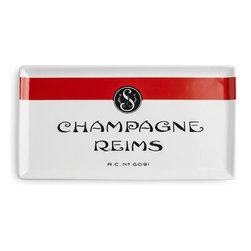 Home Decorators Collection - Champagne Reims Tray - Our Champagne Reims Tray offers a taste of French style for your table decorations. Use this small tray to serve hors d'oeuvres and treats or as an elegant landing spot for keys and change. White porcelain with red and black accents. Microwave and dishwasher safe.