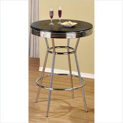 Poundex Retro Bar Table Metal Chrome -