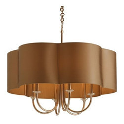 Arteriors - Arteriors Rittenhouse Chandelier - Antique Silver - Distinctive 6-light steel chandelier in antique silver finish has sweeping arched arms topped with an olive gray scalloped edge fabric shade with taupe sheer lining.