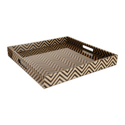 Madeline Weinrib Black Chevron Block Print Small Tray - Here's another essential for your office: a well-stocked bar. This large, chevron, lacquered tray by Madeline Weinrib is perfect for the job.