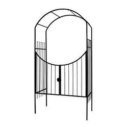"Gardman USA - Savannah Arch And Gate - SAVANNAH ARCH AND GATE - 4'1"" wide x 8' high x 24"" deep. Sturdy , black polyester powder-coated steel construction. Easily assembled - instructions included. Ground hole-maker provided for easy fitting."