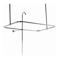 Elizabethan Classics - Side Mount 45 in. Shower Enclosure w 2 Pc Ris - Finish: Polished BrassManufacturer SKU: SECMCP. Pictured in Chrome. Side mount Shower Enclosure with 2 piece riser. 36 in. Ceiling Brace and can be cut. For use with Dual and Double Slipper rim mount tubs. Two piece riser is 5/8 in. OD. 12 in. Wall Brace and can be cut. 1/2 in. IPS showerhead connection. 45 in. L x 25 in. W