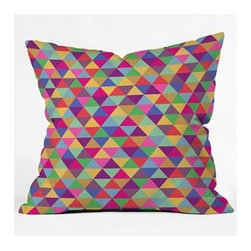 "DENY Designs - Bianca Green in Love with Triangles Throw Pillow - Wanna transform a serious room into a fun, inviting space? Looking to complete a room full of solids with a unique print? Need to add a pop of color to your dull, lackluster space? Accomplish all of the above with one simple, yet powerful home accessory we like to call the DENY Throw Pillow! Features: -Bianca Green collection. -Material: Woven polyester. -Sealed closure. -Spot treatment with mild detergent. -Made in the USA. -Closure: Concealed zipper with bun insert. -Small: 16"" H x 16"" W x 4"" D, 3 lbs. -Medium: 18"" H x 18"" W x 5"" D, 3 lbs. -Large: 20"" H x 20"" W x 6"" D, 3 lbs."