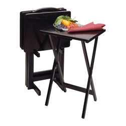 Winsome Wood - Winsome Wood 5pc TV Table Set - Rectangular - With smooth, broad tops, these solid wood TV Tables can easily hold a large meal, and the upright stand stores them discretely when not in use.