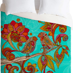 DENY Designs - DENY Designs Valentina Ramos Hello Birds Duvet Cover - Tweet this. Enjoy full-color dreams beneath this bright duvet cover from DENY Designs, with its bold illustration of two birds surrounded by pattern-filled flowers and leaves. Designed by artist Valentina Ramos, it was custom-created in the USA using a six-color printing technique that directly dyes the buttery-soft woven front. A cozy cotton-blend on the backside was created for cuddling.Pillowcases not includedAvailable in multiple sizesZip closureInterior corner tiesCustom printed for every orderWoven polyester front / cotton-polyester backMachine washableDesigned by Valentina RamosMade in the USAShips in 1 week