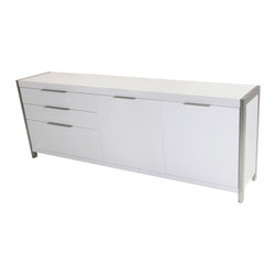 Moe's Home Collection - Moe's Home Neo Sideboard in White - Sophisticated sideboard in matt white with brushed stainless steel base