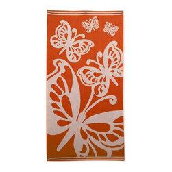 Beach Towel 450GSM, 34 x 63 - Butterflies, Orange - Butterflies Beach Towels (Set of 2)100% Cotton