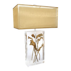 "Van Teal - Contemporary Van Teal Clear And Dried Natraj Modern Acrylic Table Lamp - This breathtaking table lamp illustrates modern elegance at its finest! A clear acrylic rectangular base encases several exotic dried natraj willow branches and a sparkling gold rectangular organza double shade tops the artful design. A clear acrylic finial completes the look. Clear acrylic construction. Dried natraj. Gold organza double shade. Takes two 75-watt medium base bulbs (not included). 32"" high. Shade is 20"" wide 12"" deep 10"" high.  Clear acrylic construction.   By Van Teal Lighting.  Dried natraj.   Gold organza double shade.   Takes two 75-watt medium base bulbs (not included).   32"" high.   Shade is 20"" wide 12"" deep 10"" high."