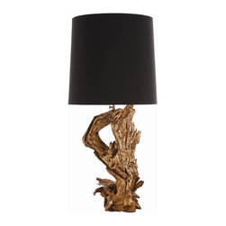 Arteriors - Ashland Lamp By Arteriors - Your design dreams will take root with this lovely lamp. The base is made from a tree root so no two are the same, and each features a hand-applied gold finish for a rough luxe pedigree. Add to that an adjustable neck and classic black fabric shade, and you get an interior illuminated with one-of-a-kind appeal.
