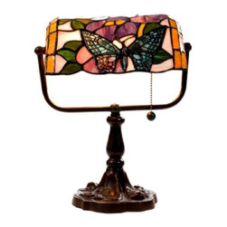 Warehouse of Tiffany - Banker Butterfly Desk Lamp - 1 Pull chain. Requires one 60W bulb . Floral pattern in shades of Green, Pink, Blue and White colors. Has more than 100 pcs. of cut glass. Each glass is individually cut wrap around copper foil and soldered together. Colors may vary slightly from picture. Base is White zinc metal. Minimal assembly required. 16 in. L x 10 in. W x 13 in. H (4 lbs.)Tiffany Style Butterfly banker lamp with floral pattern in shades of Green, Pink, Blue, Green and White colors. It has more than 100 cut of glass. It has more than 100 pcs. of cut glass individually cut, wrap around copper foil and soldered together.