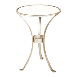 Worlds Away - Worlds Away 3 Leg Round Table in Champagne Silver Leaf with Antique Mirror Top F - Worlds Away 3 Leg Round Table in Champagne Silver Leaf�with Antique Mirror Top FNPLSAM