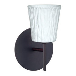 BESA Lighting - BESA Lighting 1SW-5125OS Nico 1 Light Halogen Bathroom Sconce - Nico 4 features a tapered drum shape that fits beautifully in transitional spaces. Our Opal Stone glass is a white blown glass with an outer texture of coarse sandstone. Inspired by the elements of nature, the appearance of the surface resembles the beautiful cut patterning of a rock formation. The soft white color can suit any modern or classic decor. The smooth satin finish on the clear outer layer is a result of an extensive etching process. This blown glass is handcrafted by a skilled artisan, utilizing century-old techniques passed down from generation to generation. Each piece of this decor has its own artistic nature that can be individually appreciated. The mini sconce is equipped with a decorative lamp holder mounted to either a low profile round or square canopy.Features: