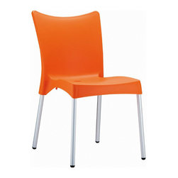 Compamia - Juliette Resin Dining Chair Orange - Set of 2 - Juliette dining chair. Made from commercial grade resin with rust free aluminum legs. Great for outdoor spaces, patios and decks. Used by restaurants, cafes and hotels. Color orange.