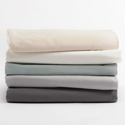 Coyuchi - Coyuchi Sateen Fitted Sheet - This luscious Coyuchi fitted sheet blends irresistible textures for exquisite comfort. Lustrous on one side and matte on the reverse, the sateen bedding is both elegant and classic. 100% organic cotton sateen; Available in several colors; Machine washable