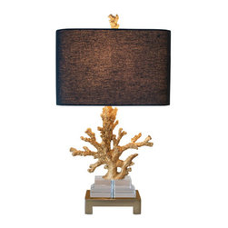 Couture - Coastal Retreat Gilt Gold One Light Table Lamp - - Faraway places right at your fingertips. Cast resin coral in a richly detailed gilt gold finish, resting on blocks of K9 optic crystal, on a rectangular brushed brass metal base. Topped with a rectangular rounded corner hardback shade in black linen, with contrasting gold foil paper lining. So realistic, you just might hear the roar of the waves if you listen closely  - Finish/color: Gilt Gold Resin, K9 Optic Crystal, Brushed Brass  - Product Width: 14  - Product Depth: 9  - Product Height: 25.5  - Product Weight: 15.8 Couture - CTTL3684G