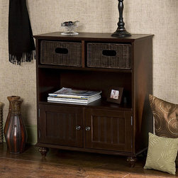 Upton Home - Kelly Espresso Storage Console - This espresso storage console has two rattan drawers above the middle display shelf, perfect for storing items discreetly. The storage buffet is made of solid hardwood with an espresso finish and will work well as a buffet or serving center.