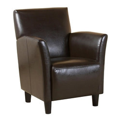 Best Selling Home - Francisco Bonded Leather Club Chair - Modern and unique shape includes flared arms. Smooth bonded leather for an elegant appeal. Wide-set arms for added comfort. Solid wood frame for stability. Darkly stained feet won't distract from overall style. Brown upholstery. 30-Day manufacturer's warranty. 29.53 in. L x 28.93 in. W x 34.64 in. HWith the Francisco Club Chair, you'll get comfortable bonded leather matched with a modern flared-arms style. Sit back and you'll be able to enjoy every angle and line.