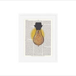 """Zlatka Paneva Framed Print, Light Bulb, Mat, 16 x 20"""", White - A delightful meditation on an object we use daily, but often fail to really look at - an ordinary light bulb. Zlatka Paneva was drawn to the different shapes of light bulbs and, particularly, unusual filaments. 11"""" wide x 13"""" high 16"""" wide x 20"""" high 28"""" wide x 42"""" high Alder wood frame. Black- or white-painted finish; or espresso-stained finish. White beveled-cut, archival-quality, acid-free mat. Available with or without a mat. {{link path='/shop/accessories-decor/pb-artist-gallery/artist-gallery-zlatka-paneva/'}}Get to know Zlatka Paneva.{{/link}}"""