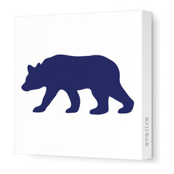 """Avalisa - Silhouette - Bear Stretched Wall Art, 12"""" x 12"""", Navy - """"Bear"""" walls? Start your own silhouette statement wall with this bear silhouette. Ready-to-hang stretched canvas wall art is a fun way to introduce animal shapes to future nature lovers."""