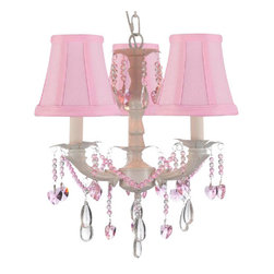 """The Gallery - White Chic Crystal chandelier Lighting with Pink Shades - A great European tradition. Nothing is quite as elegant as the fine crystal chandeliers that gave sparkle to brilliant evenings at palaces and manor houses across Europe. This beautiful chandelier from the Versailles collection has 3 lights and is decorated and draped with 100% crystal that captures and reflects the light of the candle bulbs. The timeless elegance of this chandelier is sure to lend a special atmosphere anywhere its placed! H 18. 5"""" with 12. 75"""" 3 lights shades included"""