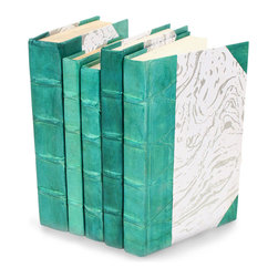 Parchment Collection Books - Teal  - Set of 5 - You can, indeed, judge a book by its cover. A visually striking set of decorative tomes, the Parchment Collection Books - Teal - Set of 5  make an impressive graphic statement when placed upon a shelf in an eclectic great room, a window ledge in a home office, a fireplace mantel embellished with objets d'art, or glass-fronted armoire in a personal library.