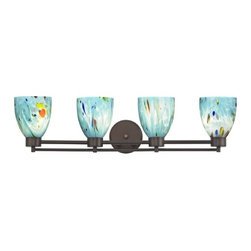 Design Classics Lighting - Modern Bathroom Light with Turquoise Art Glass - Four Lights - 704-220 GL1021MB - Contemporary / modern neuvelle bronze 4-light bathroom light with modern bell glass shades. A socket ring may be required if installed facing down. Takes (4) 100-watt incandescent A19 bulb(s). Bulb(s) sold separately. UL listed. Damp location rated.